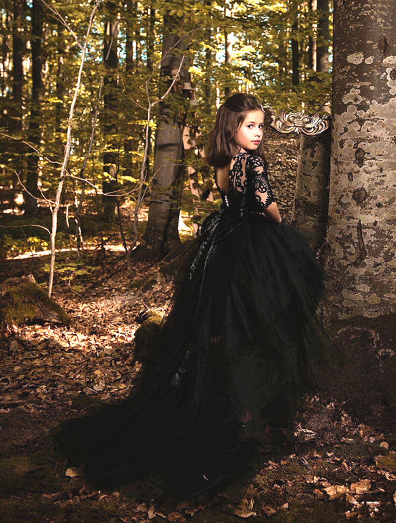 2020 Black Girls Pageant Dress Lace Appliques Princess A Line High Low Half Sleeves Crystal Belt Tiered Flower Girls Dress