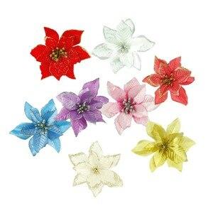 20 piezas D Glitter simulación de flores artificiales flor falsa flor artificial adorno colgante en árbol de Navidad Decorat