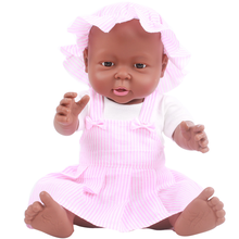 цена на 41cm Reborn African Doll Newborn Baby Simulation Soft Vinyl Toy Dolls Children Lifelike Toys White Black Bebe Reborn Toy Dolls