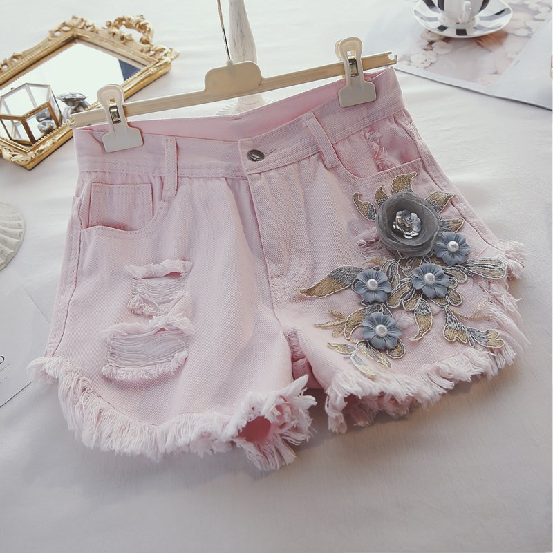 Denim Pink Shorts Women New Industrial Stereo Flower Frayed Denim Shorts 2020 Summer New Loose Jean Pants Slimming Whot Pants