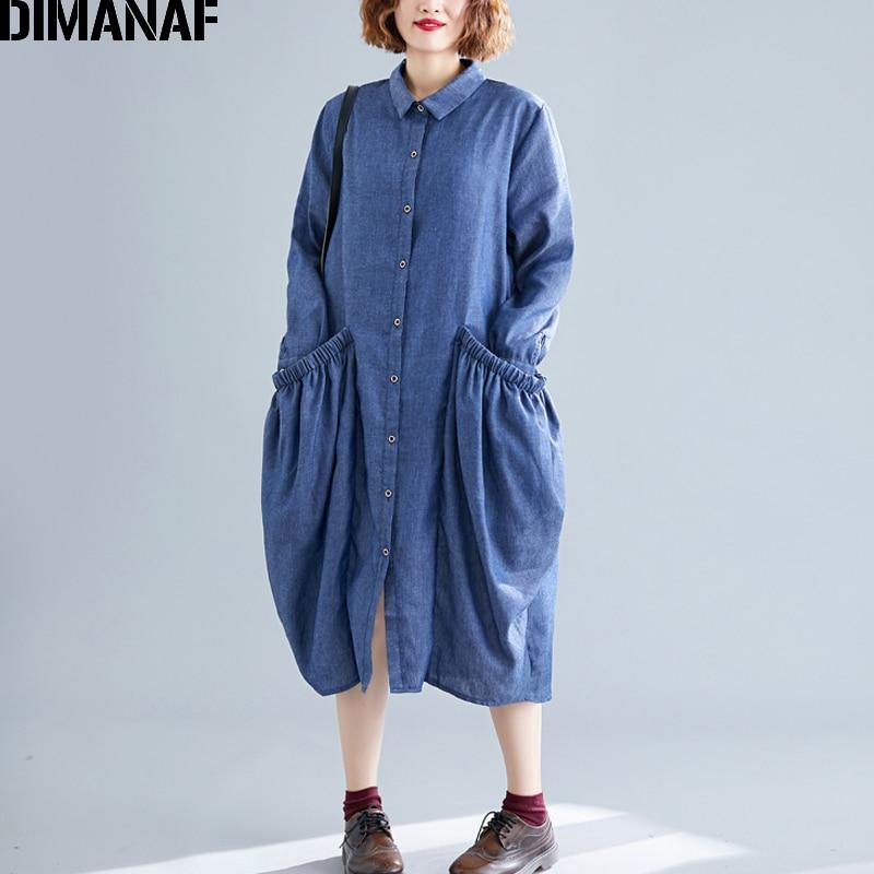 DIMANAF Plus Size Women Dress Autumn Denim Cotton Long Sleeve Big Size Female Vestidos Casual Loose Shirts Dress Pockets 2019