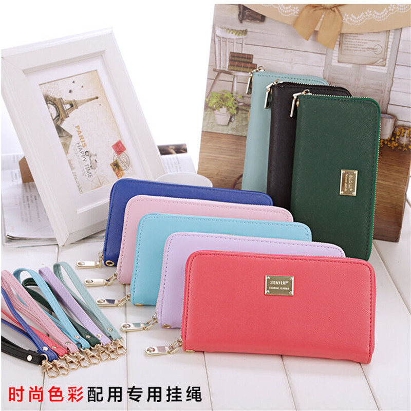 Largest Supplier Fashion Lady Zipper Leather Long Purse Clutch Coin Phone Bag Wallet Card Holder