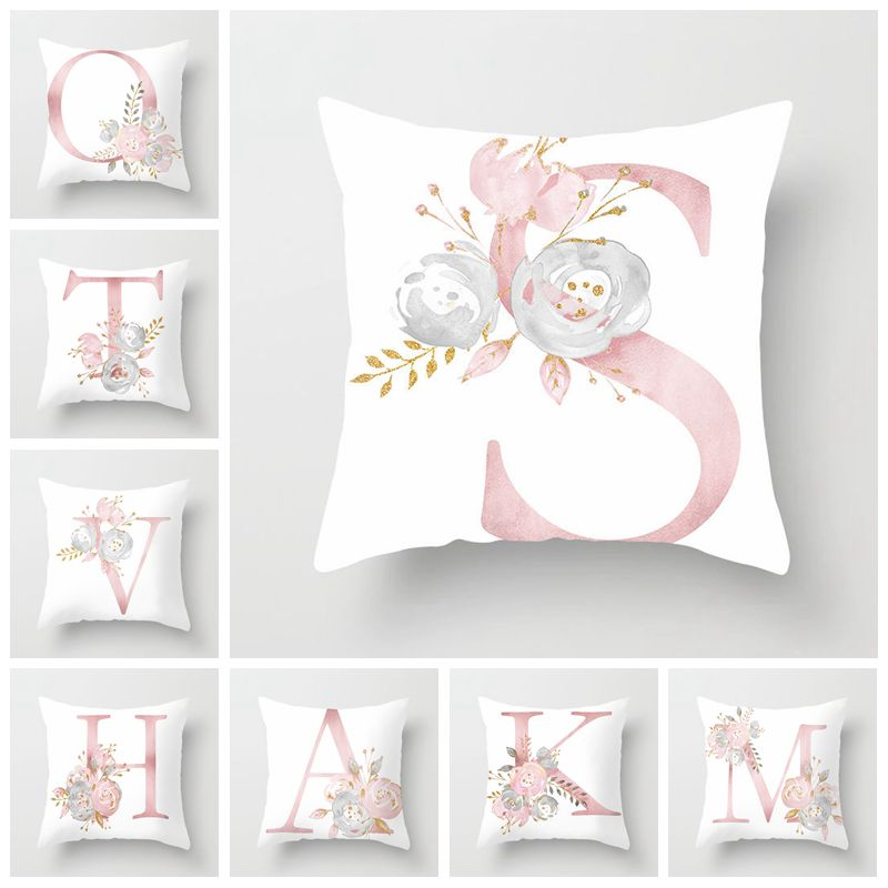 Home Decor Pink Letter Cushion Cover Rose Flower Throw Pillow For Sofa Mediterranean Style Pillow Case For Mothers' Day
