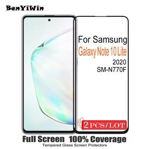 Image 1 - 2PCS 100% מקורי מלא כיסוי מסך מגן מזג זכוכית לסמסונג גלקסי הערה 10 לייט מגן זכוכית עבור SM N770F סרט