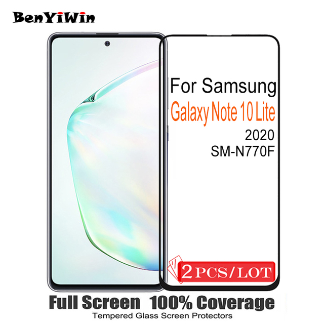 2PCS 100% מקורי מלא כיסוי מסך מגן מזג זכוכית לסמסונג גלקסי הערה 10 לייט מגן זכוכית עבור SM N770F סרט