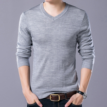 WENYUJH 2019 New Autunm Thin Wool Sweater Of Man Solid Color Sweater Long Sleeve V-Neck Slim Fit Male Casual Sweater Pullover
