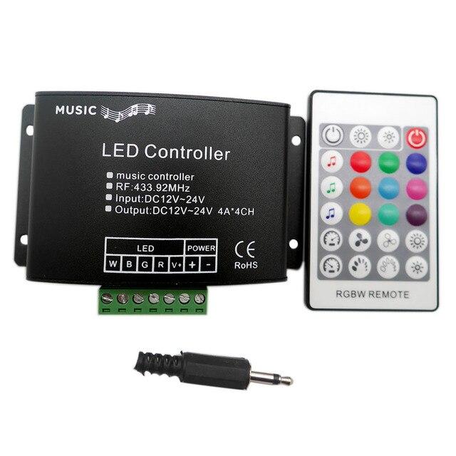 24Keys RGB/RGBW müzik LED denetleyici DC12V 24V RF uzaktan ses sensörü ses ses kontrolü için RGB RGBW LED şerit ışık