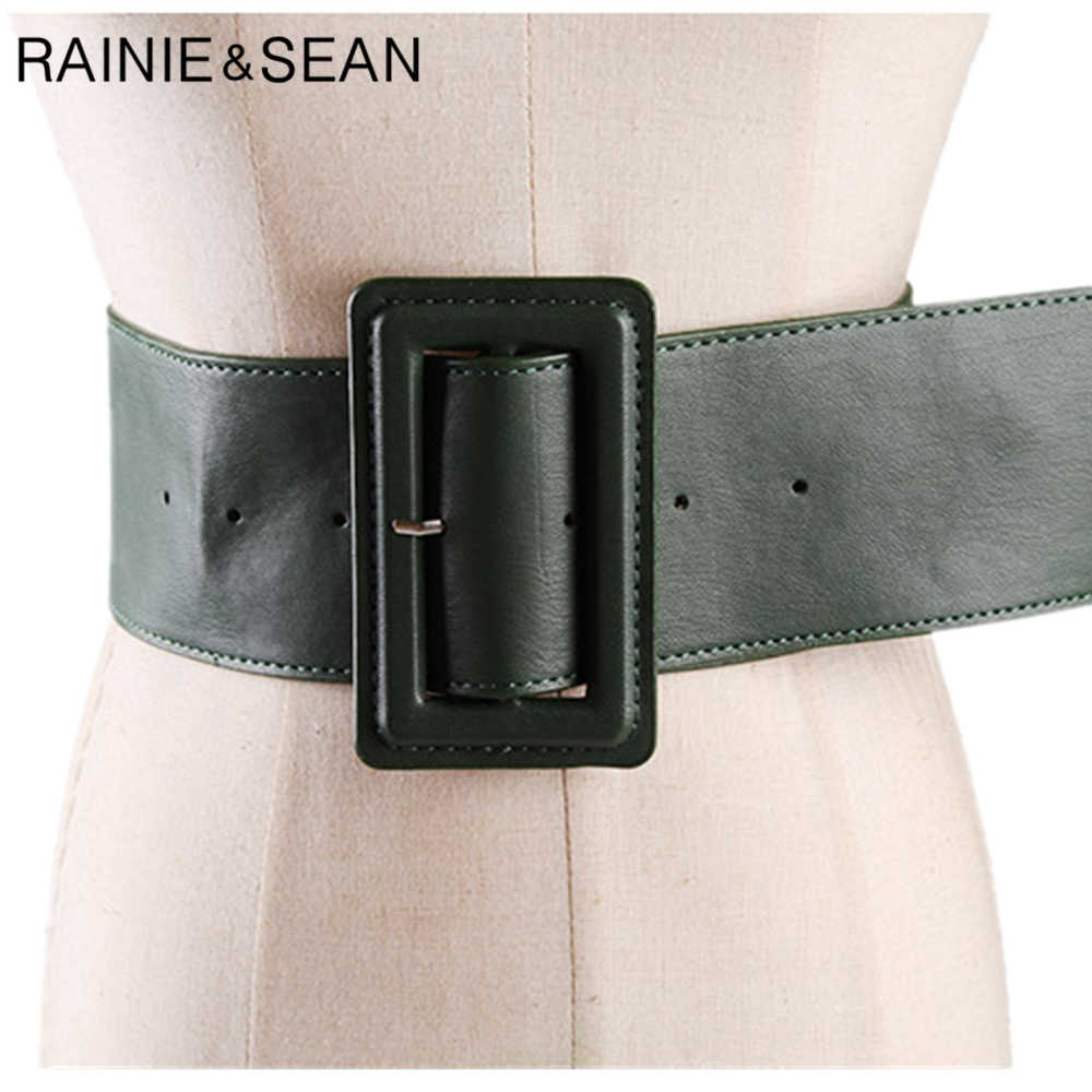 RAINIE שון עור חגורות לנשים רחב נשי חגורת אבזמי אופנה סתיו החורף חדש לגמרי מוצק כחול ירוק גבירותיי שמלת חגורות