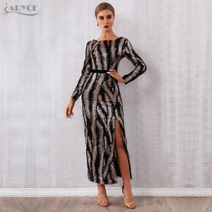 Image 1 - Adyce 2020 Neue Herbst Pailletten Promi Abend Landebahn Partei Kleid Frauen Sexy Backless Maxi Lange Hülse Nacht Club Bodycon Kleid
