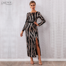 Adyce 2020 חדש סתיו נצנצים סלבריטאים ערב מסלול מסיבת שמלת נשים סקסי ללא משענת מקסי ארוך שרוול לילה מועדון Bodycon שמלה