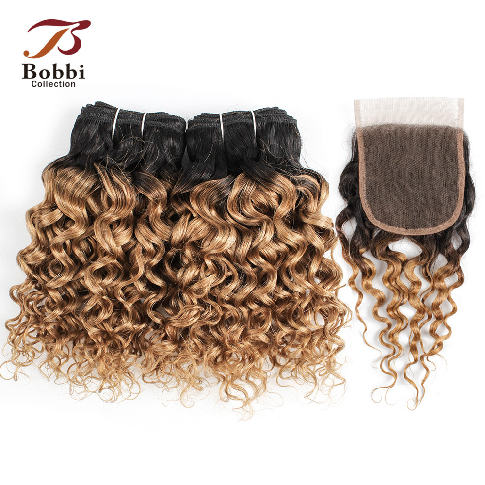Bobbi Collection 50g/pc 4 Bundles With Closure T 1B 27 Ombre Honey Blonde Dark Brown Water Wave Brazilian Non-Remy Human Hair
