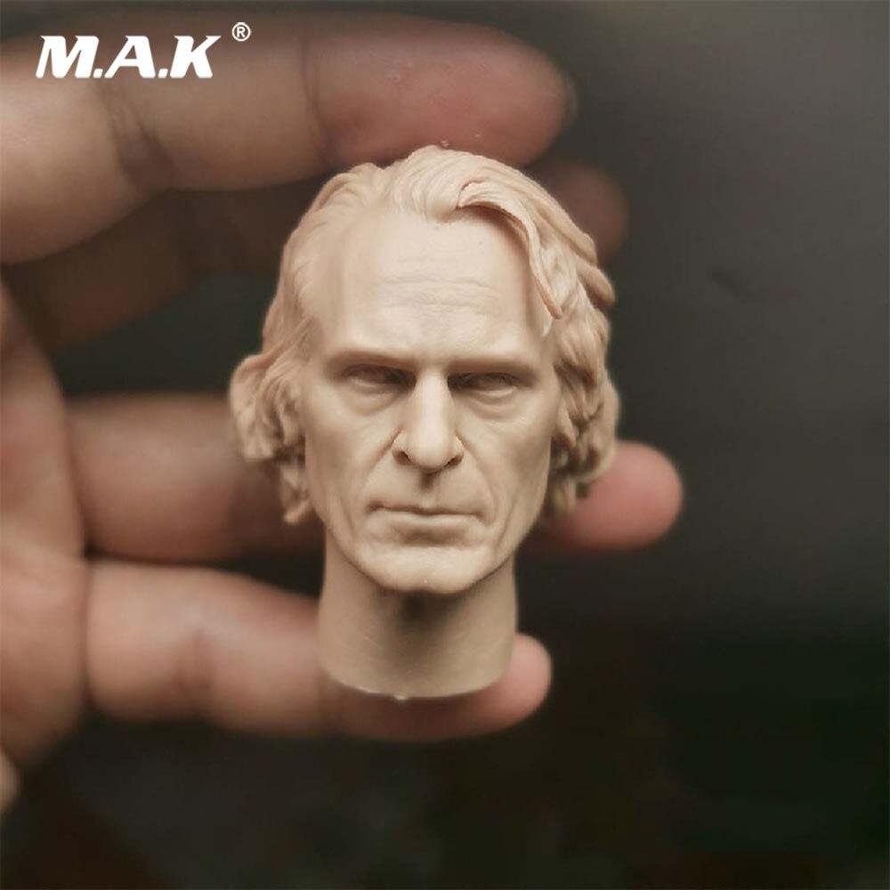 1/6 Scale Male Head Scuplt Model  PVC Joker Clown PVC Joaquin Phoenix Unpainted Head Sculpt Carving Model For 12'' Body