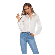 Women Fashion Shirts  Collar Button V Neck Long Sleeve Lace Tops Blouse 8.26
