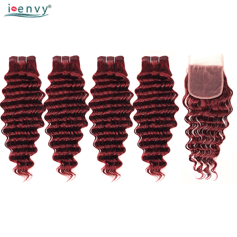 I Envy Peruvian Hair Bundles With Closure Deep Wave 99J Red Human Hair Bundles With Closure Colored Burgundy 4 Bundles Non Remy