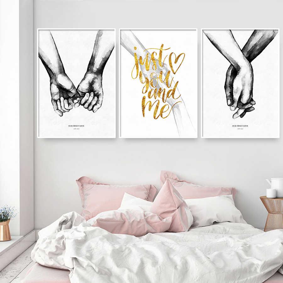 Cuadro En Lienzo De Amor Con Manos Para Pareja Carteles Minimalistas En Blanco Y Negro E Impresiones De Imágenes Abstractas Para Decoración De Dormitorio Pintura Y Caligrafía Aliexpress