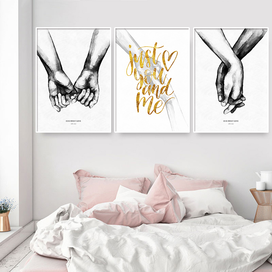 >Pictures Holding Hands Love Canvas Painting <font><b>Minimalist</b></font> Black <font><b>White</b></font> Posters and Prints Abstract Pictures for Couple Bedroom Decor