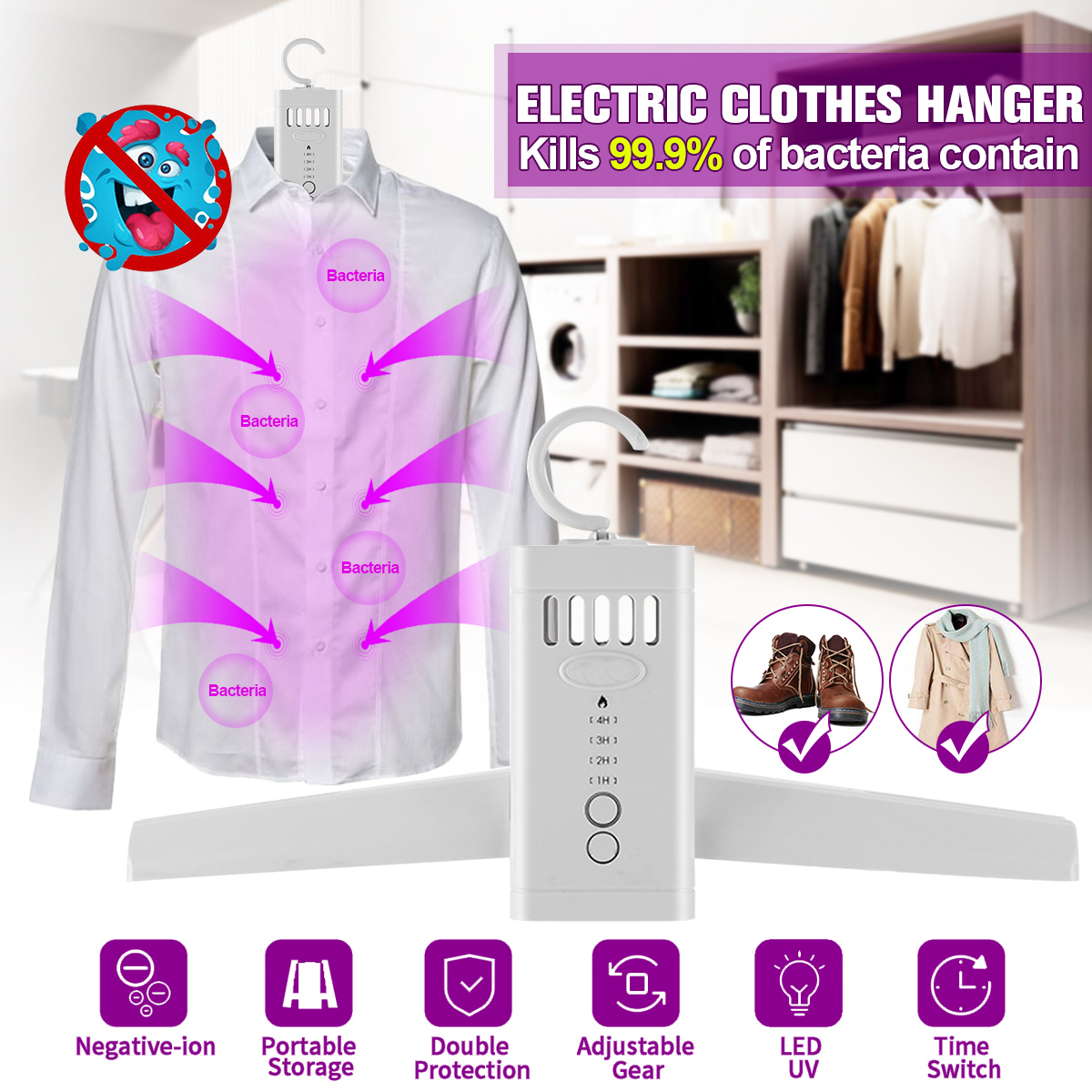 Portable UV Disinfection Sterilizer For Drying Rack Clothes Hanger Shoes Heater Led Strip Sterilizer Clothes Dryer Smart Adjust