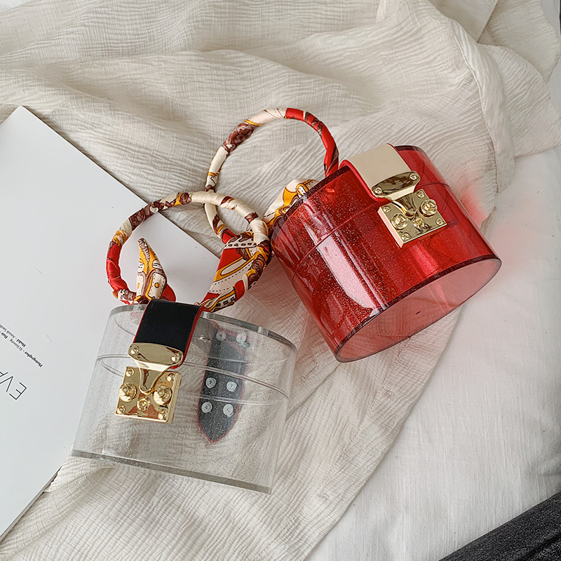 Transparent MINI Tote Bags For Women 2020 Summer Fashion Acrylic Handbags Scarves Design Hand Bag Lady Cute Handbag