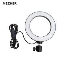 Mezher Dimmable LED Studio light Camera Ring Lamp Photo Mobile Phone Video Lamp with Tripod Self-timer Rod Ring Charging Lamp