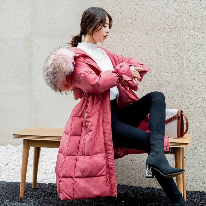 2020 Winter Down Jacket Woman Hooded Big Fur Collar Korean Long Duck Down Coat Women Jackets Parka Chaqueta Mujer KJ2555