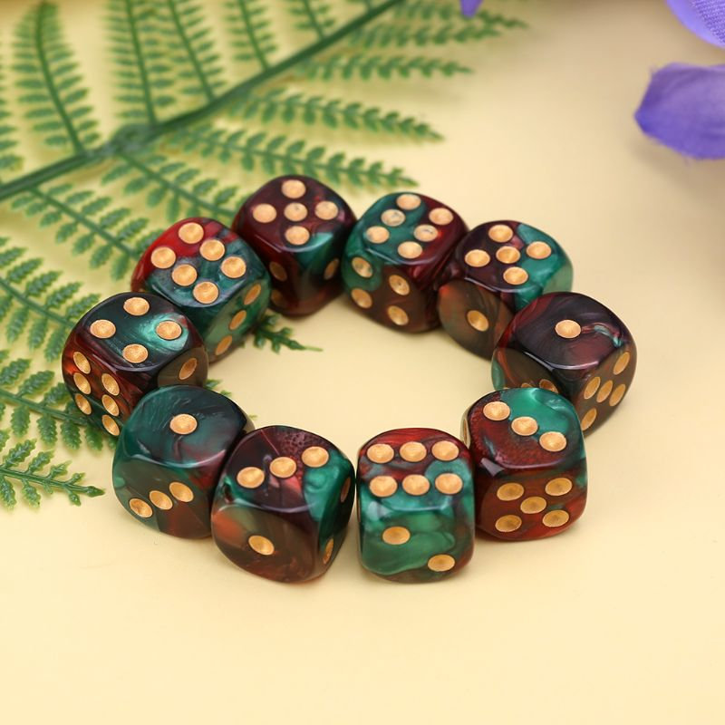 10 Pcs 16mm Resin <font><b>Dice</b></font> <font><b>D6</b></font> Red <font><b>Green</b></font> Gold Points Round Edges KTV Bar Nightclub Entertainment Tools Adult Toys N0HA image