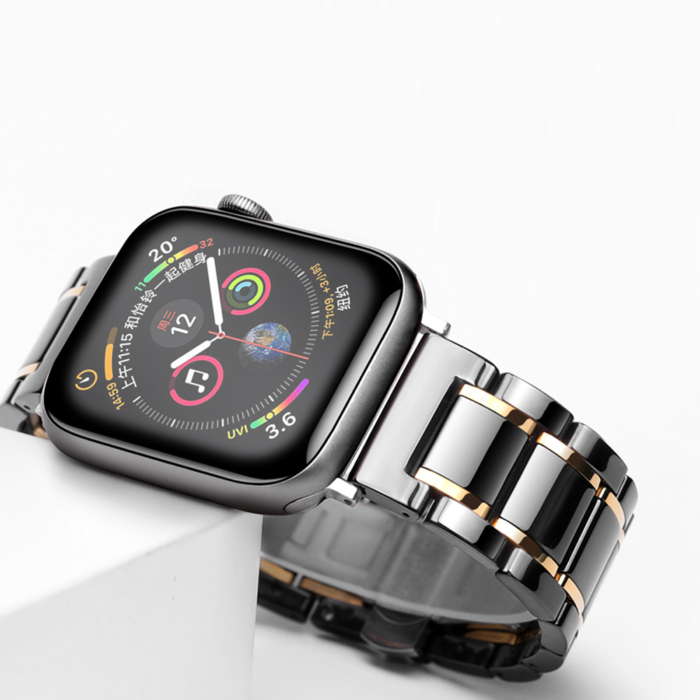 Ceramic Watcn Band For Apple Watch 4 44mm 40mm Bracelet For Iwatch 3 2 1 38mm 42mm Ceramic With Stainless Steel Strap Watchband