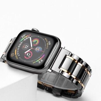 Керамический ремешок watcn для Apple Watch 4 5 44 мм 40 мм браслет для iwatch 3 2 38 мм 42 мм керамический ремешок из нержавеющей стали ремешок для часов
