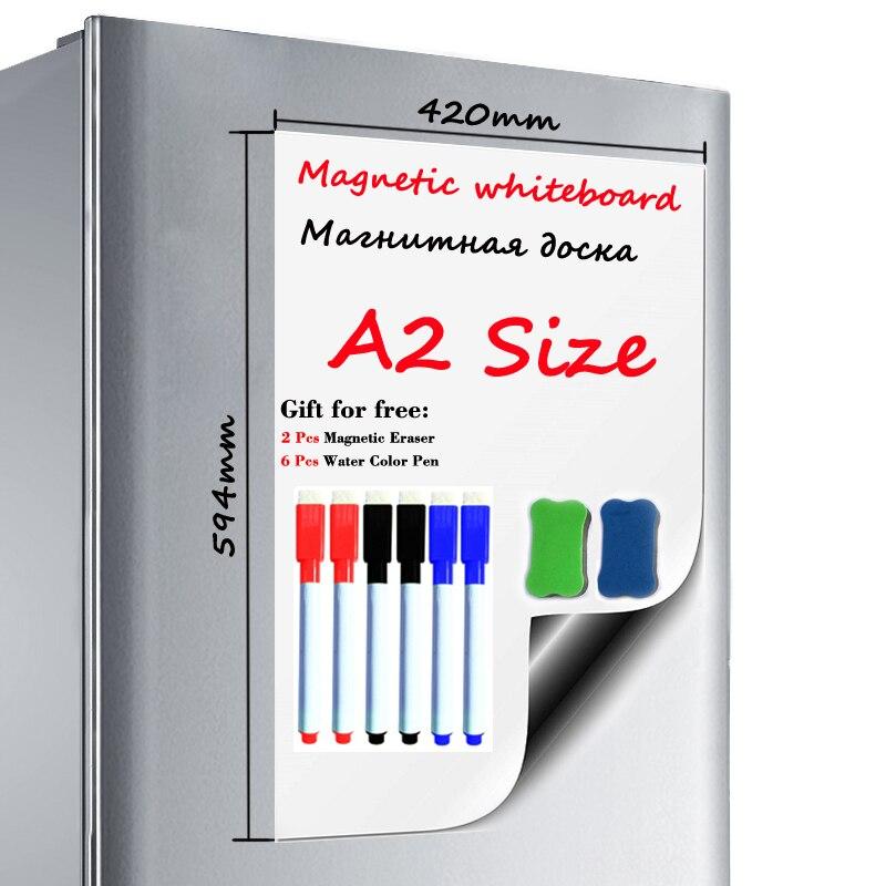 A2 Size Magnetic WhiteBoard Dry-erase White Board Fridge Sticker Magnets Kids Painting Board School Home Office Message Board
