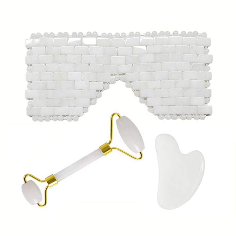 Natural White Crystal Sleep Mask Jade Cooling Eye Mask Facial Massager Jade Roller Face Lift Tool Guasha Board Gouache Scraper