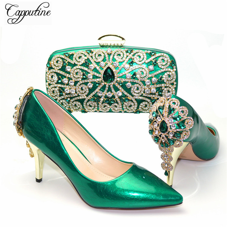 Excellent Green Spring/Autumn Thin Heel Shoes And Clutch Handbag Set Decorated With Stones CR890, Heel Height 8CM, 5Color