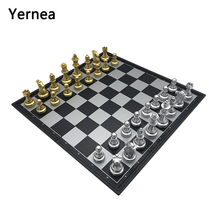Yernea Board Games  32*32*2CM Gold and Silver Strong Magnetic Plastic Chess Pieces Chess Board Set Magnetic Entertainment Gift yernea retro chess set board games resin chess terracotta warriors lifelike pieces high density board paste 26 26 6 5 cm gift