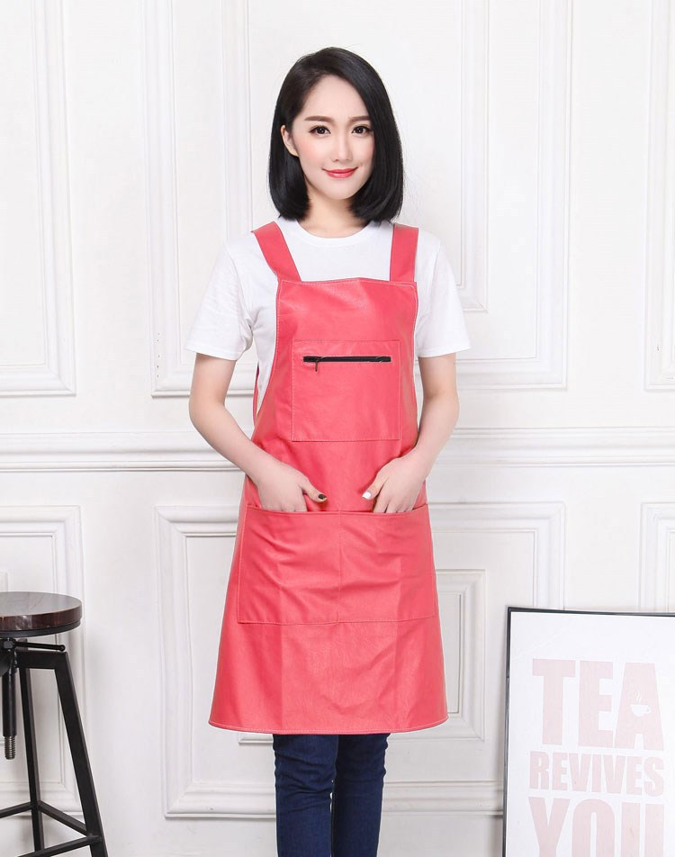 Waterproof Oil Resistant Leather Smock Zipper Pocket Lengthen Sleeveless Leather Overclothes Pu Wash Dishes Vehicle Cleaning Men