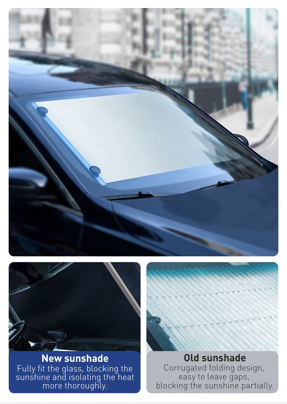 Baseus Car Sunshade Retractable Windshield Car Window Shade Car Front Sun Block Auto Rear Window Foldable Curtain Sunshade