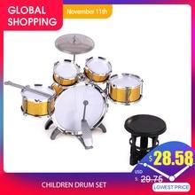 Perkusja dla dzieci Jazz Instrument muzyczny zabawka 5 perkusja + 1 mały talerz stołek bęben kij zabawki muzyczne dzieci prezent na boże narodzenie