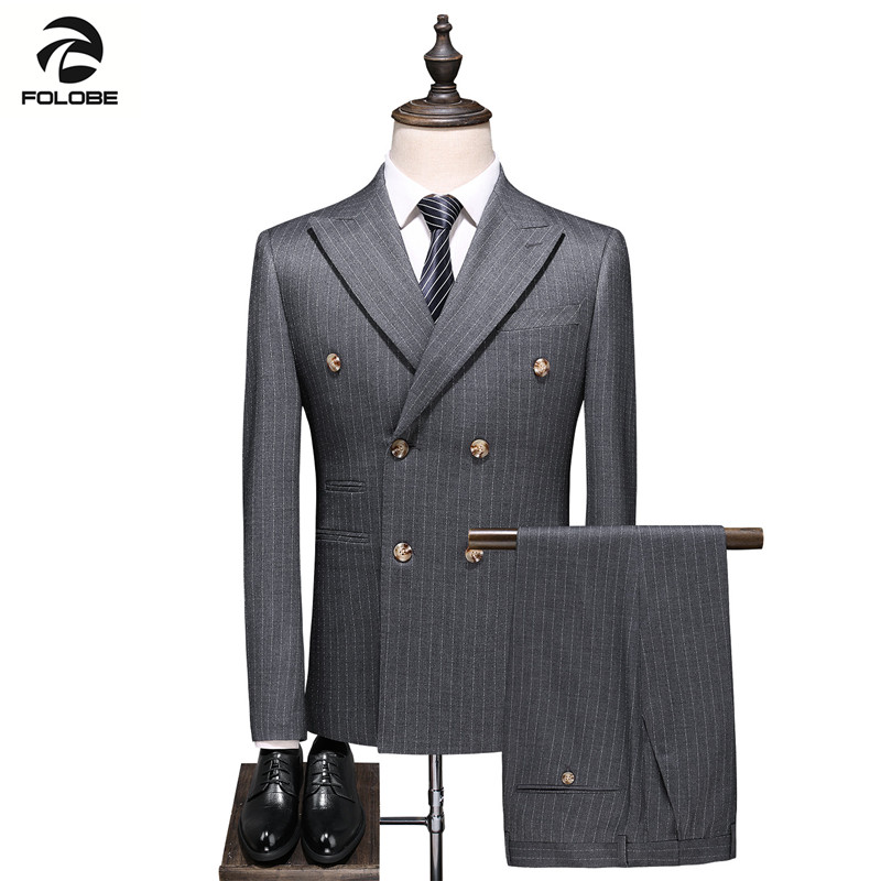 FOLOBE 2019 New High Quality Gentleman Men'S Striped Double-Breasted Suit Three-Piece Wedding Party Men'S Elegant Luxury Suit