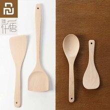Original youpin yiwuyishi colher espátula mistura ferramentas de cozinha faia madeira material 4 em 1