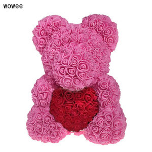 Image 3 - Valentines Day 40cm Rose Bear Artificial Flower Roses Girlfriend Gift Ornaments Teddy Bear of Rose Decorations Foam Flower Head