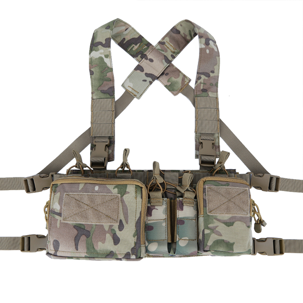 Army Tactical Vest Carrier Armor Chest Rig Harness Rifle Pistol Hanger Utility Belly Pouch CRH Hunting Equipment Accessory 5.56