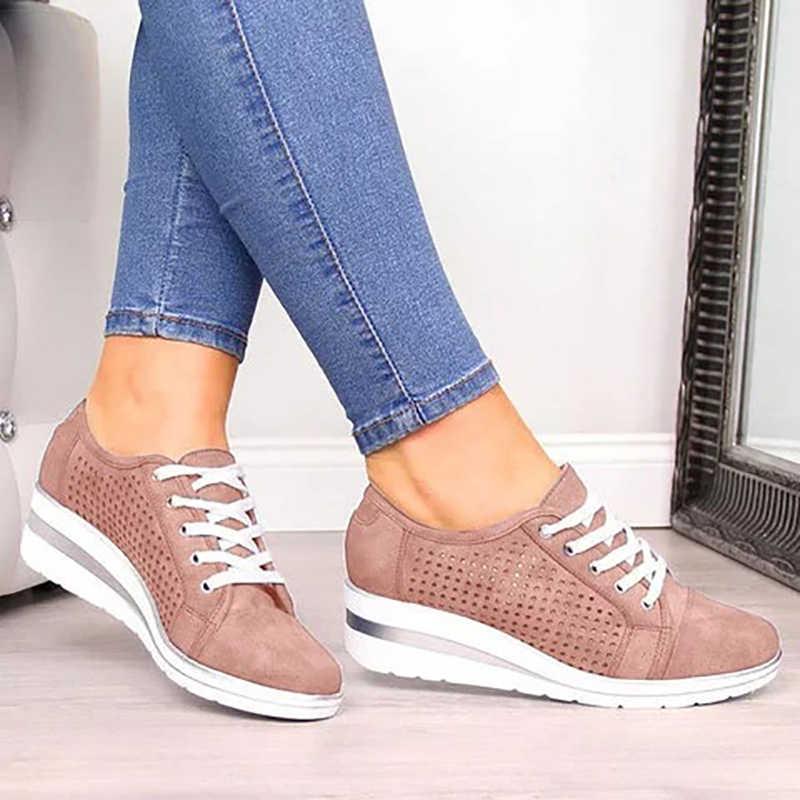 Phụ Nữ Vintage Cột Dây Giày Giày Vải Sneaker Thoáng Mát Cho Nêm Nền Tảng Giày Meddle Gót Bơm Mũi Nhọn Giày Ngoài Trời