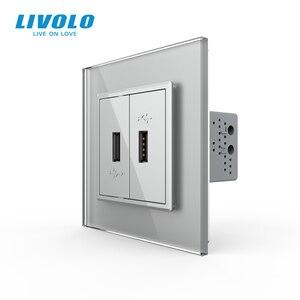 Image 4 - Livoloホワイトクリスタルガラスパネル、 2 ギャングのusbプラグソケット/コンセントVL C792U 11/12/13/15 、 4 色、なしロゴ