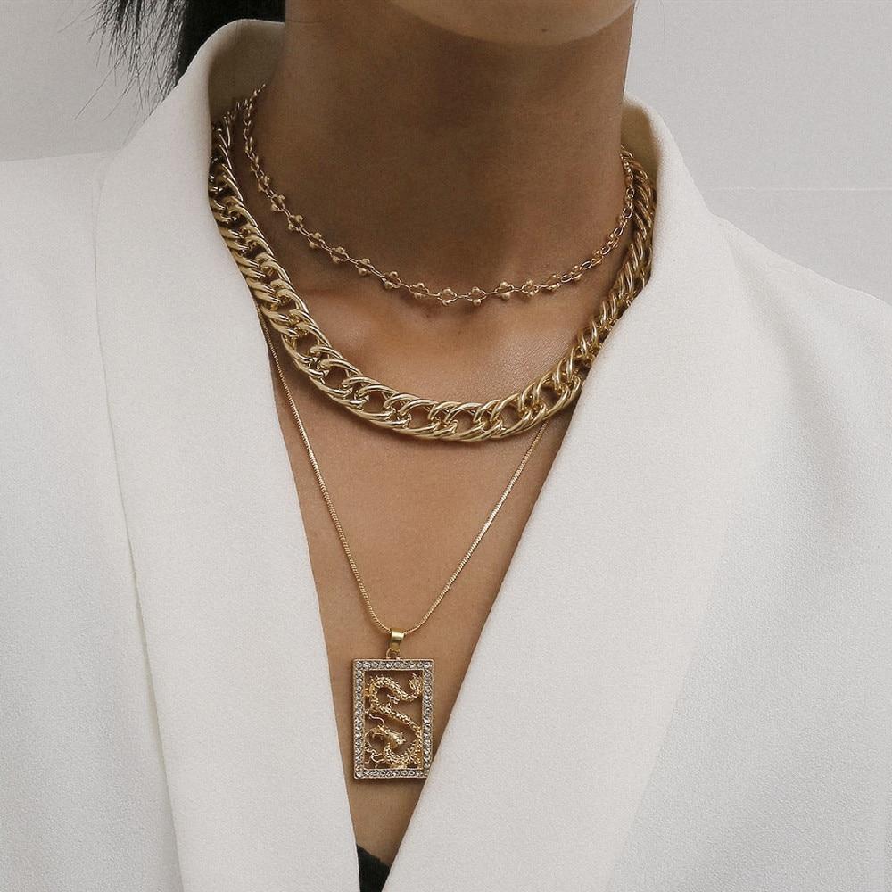 3 adet Vintage çok katmanlı ejderha kolye kolye seti kadınlar için hip hop küba tıknaz zincir gerdanlık kolye bildirimi takı