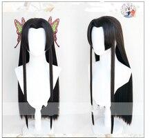 Iblis avcısı Kimetsu hiçbir Yaiba Kochou Kanae Cosplay peruk siyah isıya dayanıklı sentetik saç peruk + peruk kap + kelebek