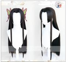 Tueur de démons Kimetsu no Yaiba Kochou Kanae Cosplay perruque noir résistant à la chaleur perruques de cheveux synthétiques + bonnet de perruque + papillon