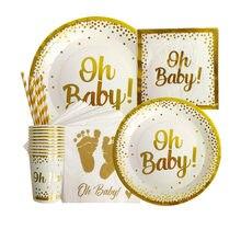Oh Baby Talheres Descartáveis Partido Copos Placa De Papel É UM Bolo Topper Fontes do Partido do Chuveiro Do Bebê Da Menina do Menino