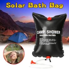 20L portable shower bag outdoor bath bag solar heating outdoor camping picnic barbecue hiking shower water storage bath bag solar outdoor camping shower bag 20 liters 5 gallons