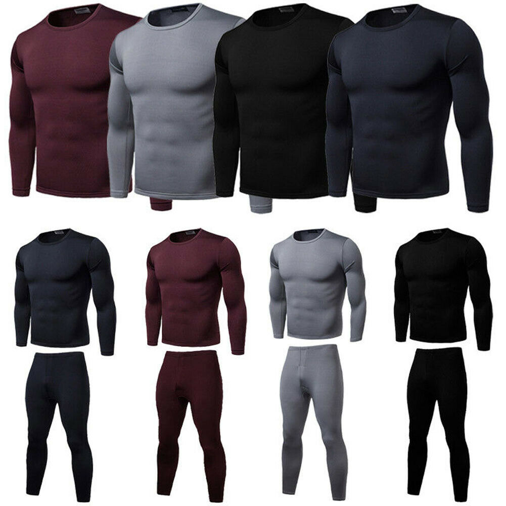 Fashion Men Male Solid Long Johns Basic 2 Pcs Set Underwear Winter Warm Soft Cotton Lined Thermal Top  Bottom Underwear