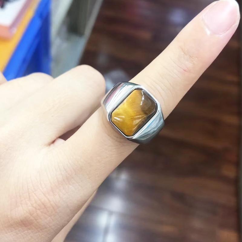 Nouveau 2020 digne oeil de tigre pierre en acier inoxydable carré mode anneau pour hommes Pinky anneaux mâle richesse et riche statut bijoux