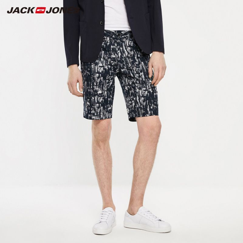 JackJones Men's Spring Casual Fashion Straight Fit Linen Printed Shorts Streetwear| 219215522