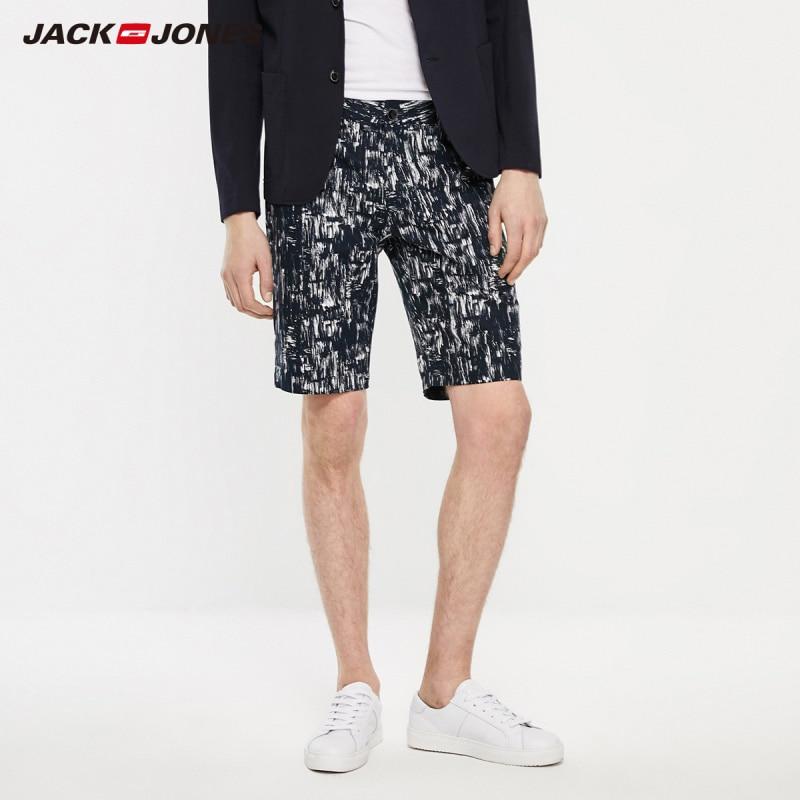 JackJones Men's Spring Casual Fashion Straight Fit Linen Printed Shorts Streetwear| 219215522