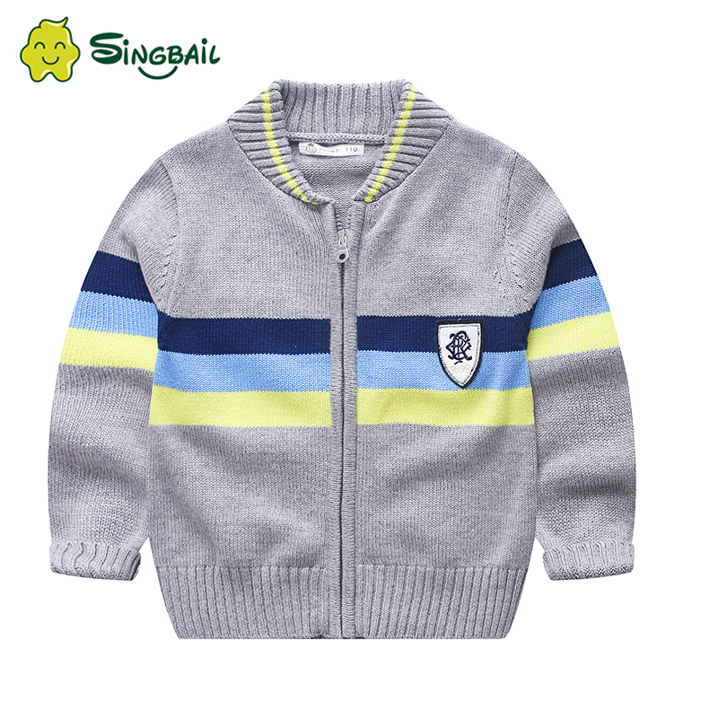 Kids Striped Sweater Tops Children Boy Autumn Winter Knitted Cardigan Sweater Baseball Coat New Toddler Outerwear Clothes 2020